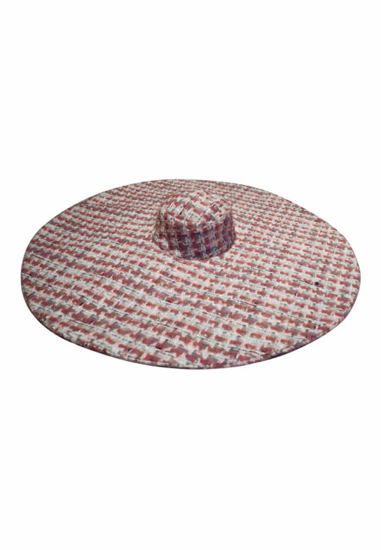 Pink tweed big hat