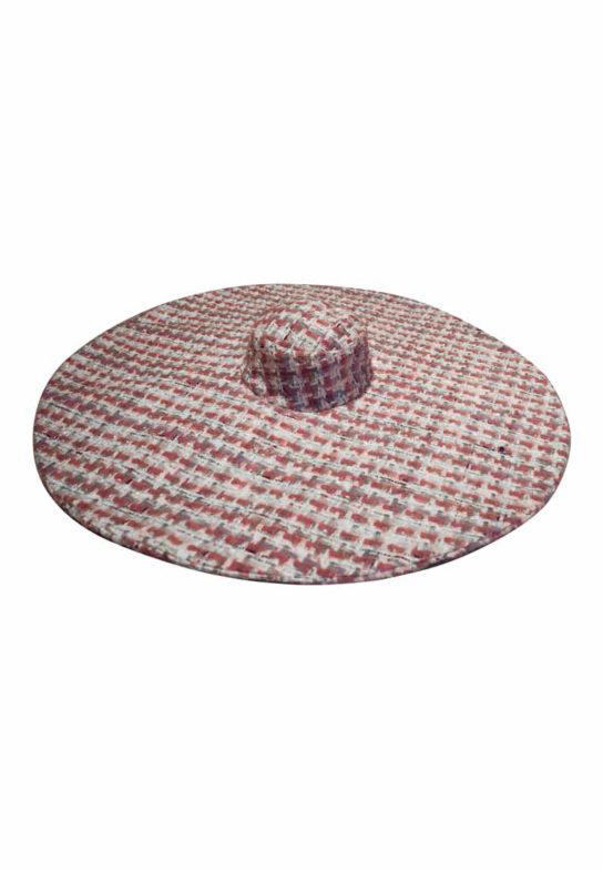 Pink tweed big hat