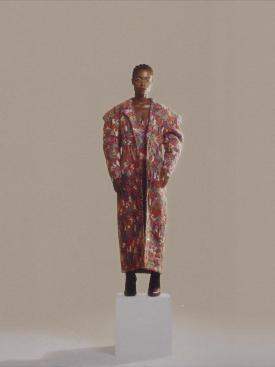 Multi-color acrylic wool oversized coat