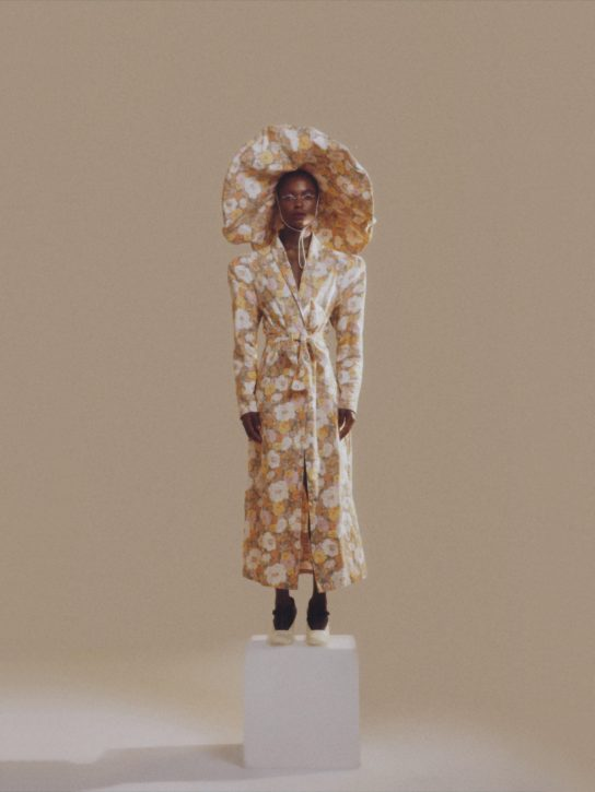 Beige Floral Kimono long coat