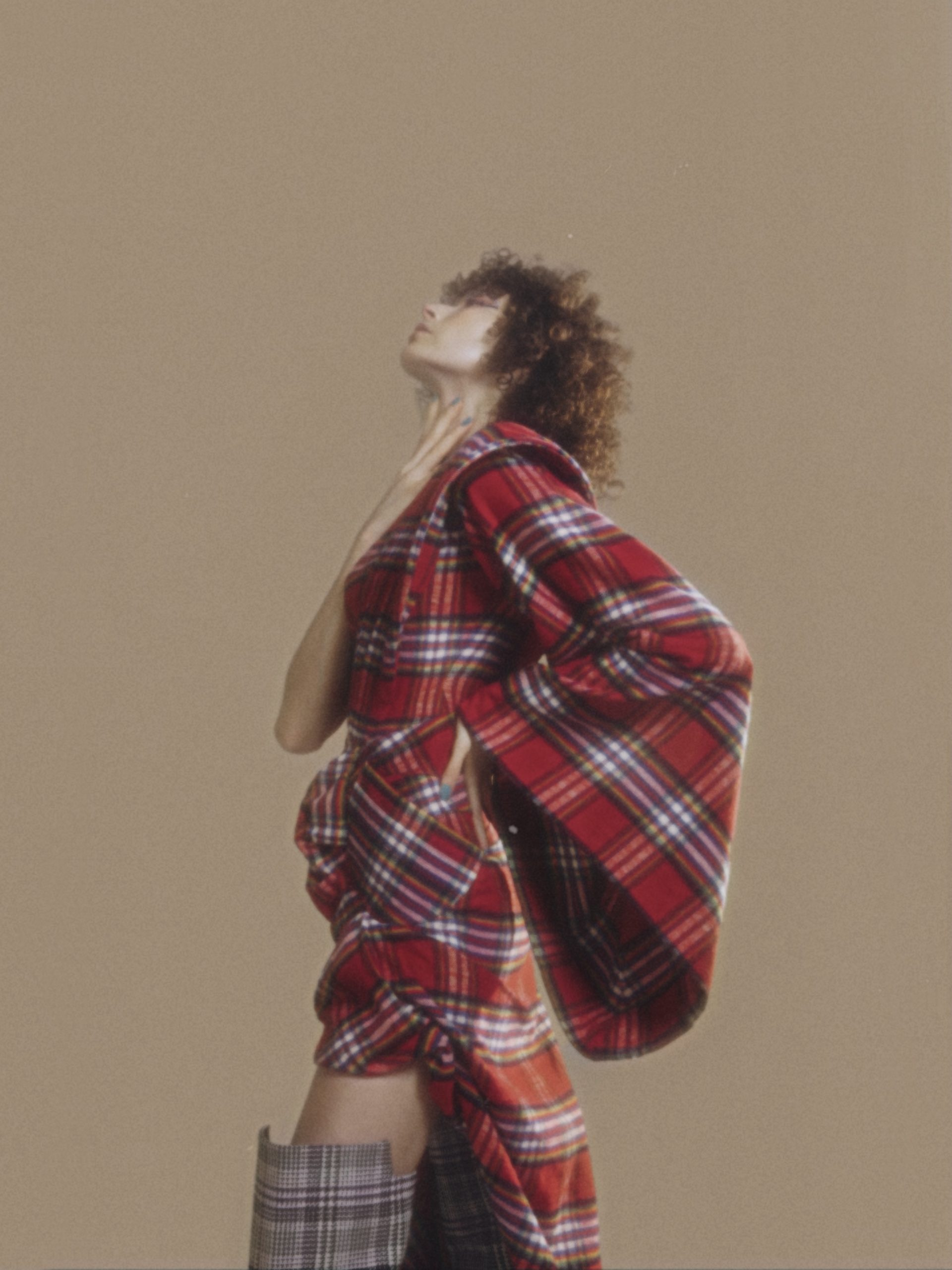Red checked kimono draped dress