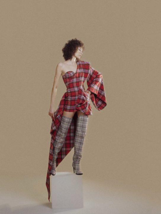 Red checked kimono draped dress